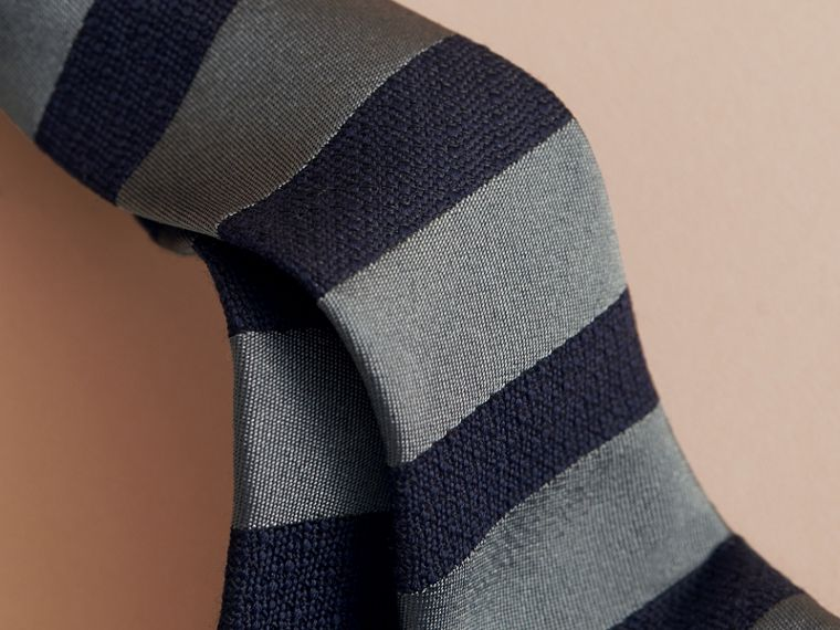 Slim Cut Striped Silk Wool Tie - Men | Burberry - cell image 1