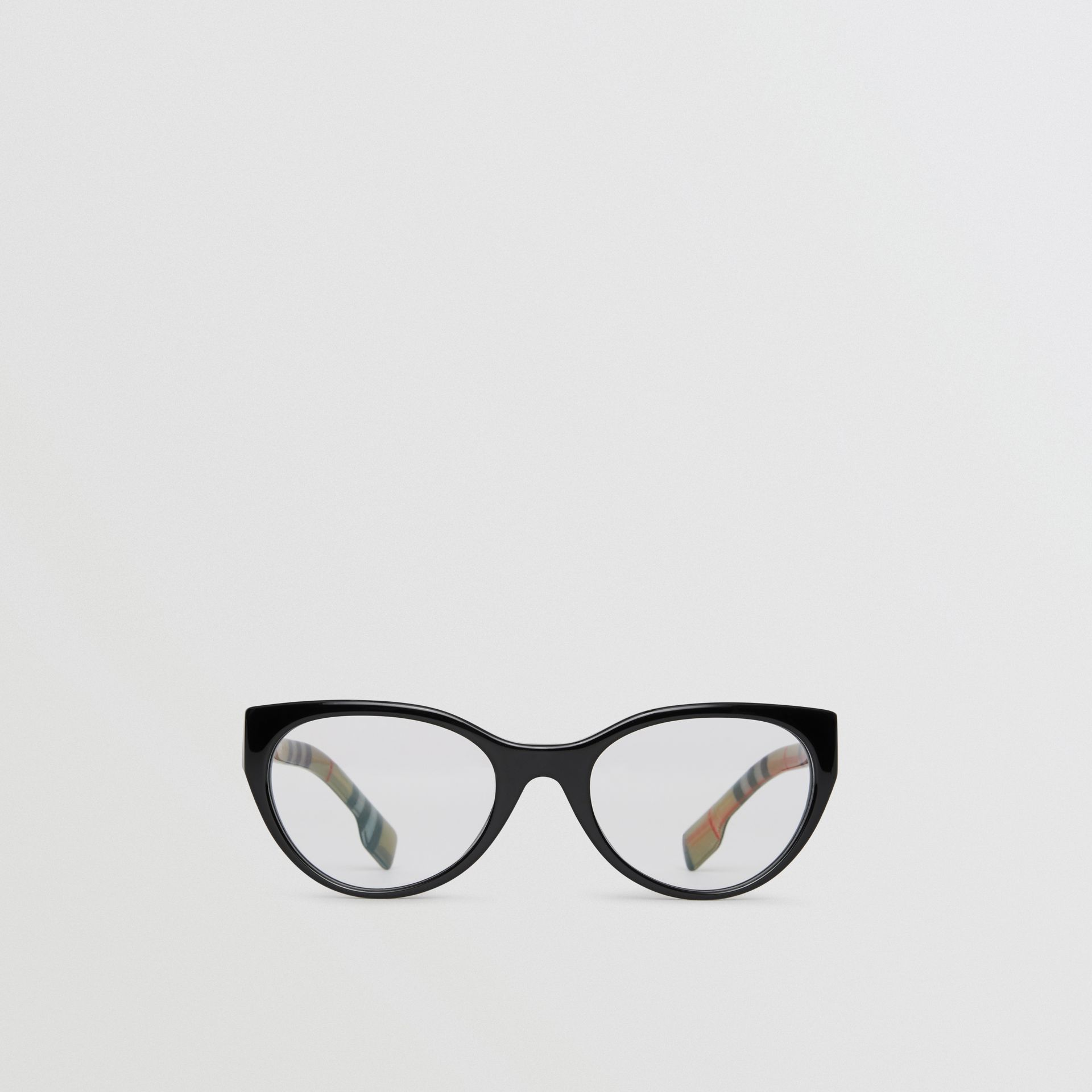 Vintage Check Detail Cat-eye Optical Frames in Black - Women | Burberry Australia - gallery image 0