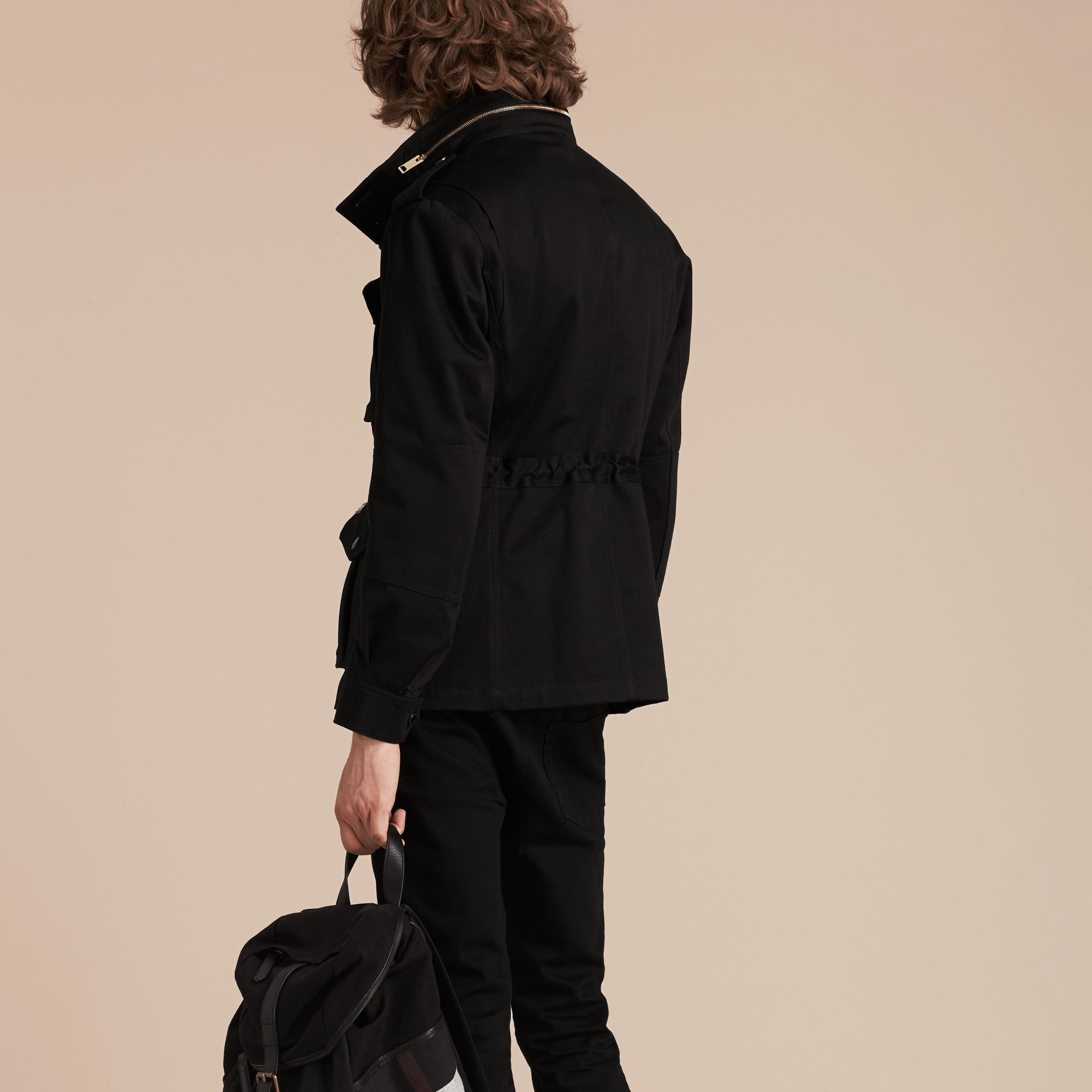 Black Bonded Cotton Field Jacket with Removable Warmer - gallery image 3