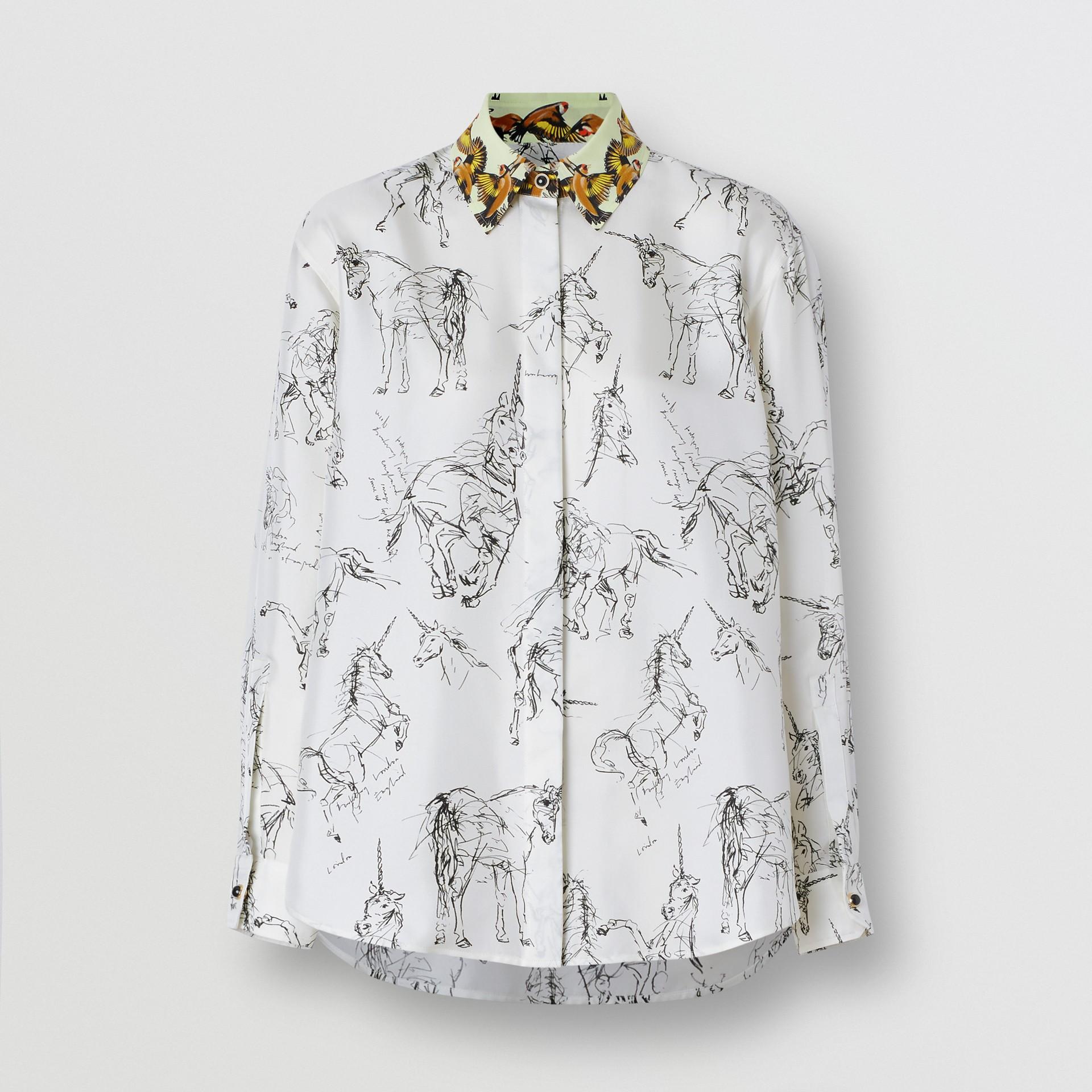 Camisa en sarga de seda con estampado de gorilas y unicornios (Blanco / Negro) - Mujer | Burberry - imagen de la galería 3