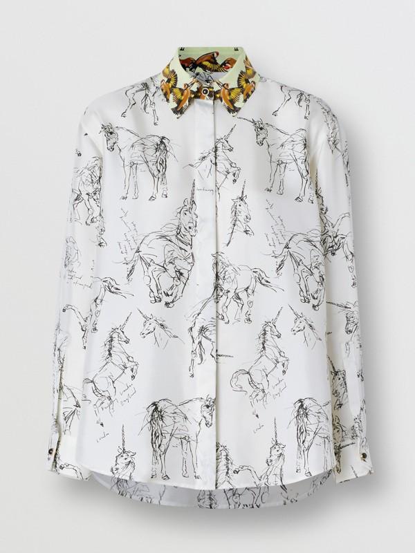 Camisa en sarga de seda con estampado de gorilas y unicornios (Blanco / Negro) - Mujer | Burberry - cell image 3
