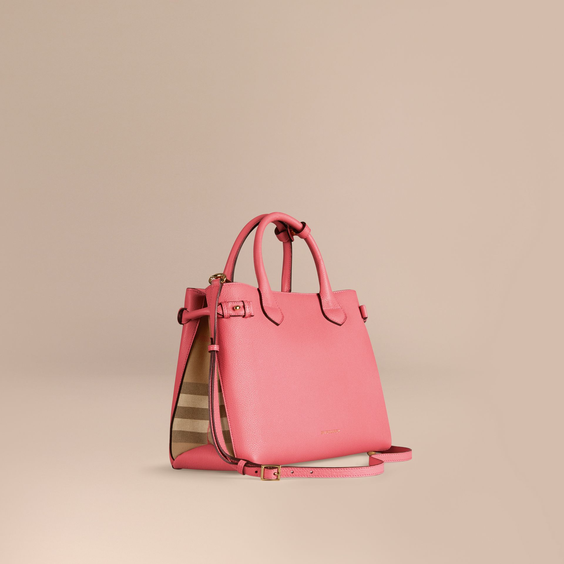 Sac The Banner medium en cuir et coton House check Rose Mauve - photo de la galerie 1