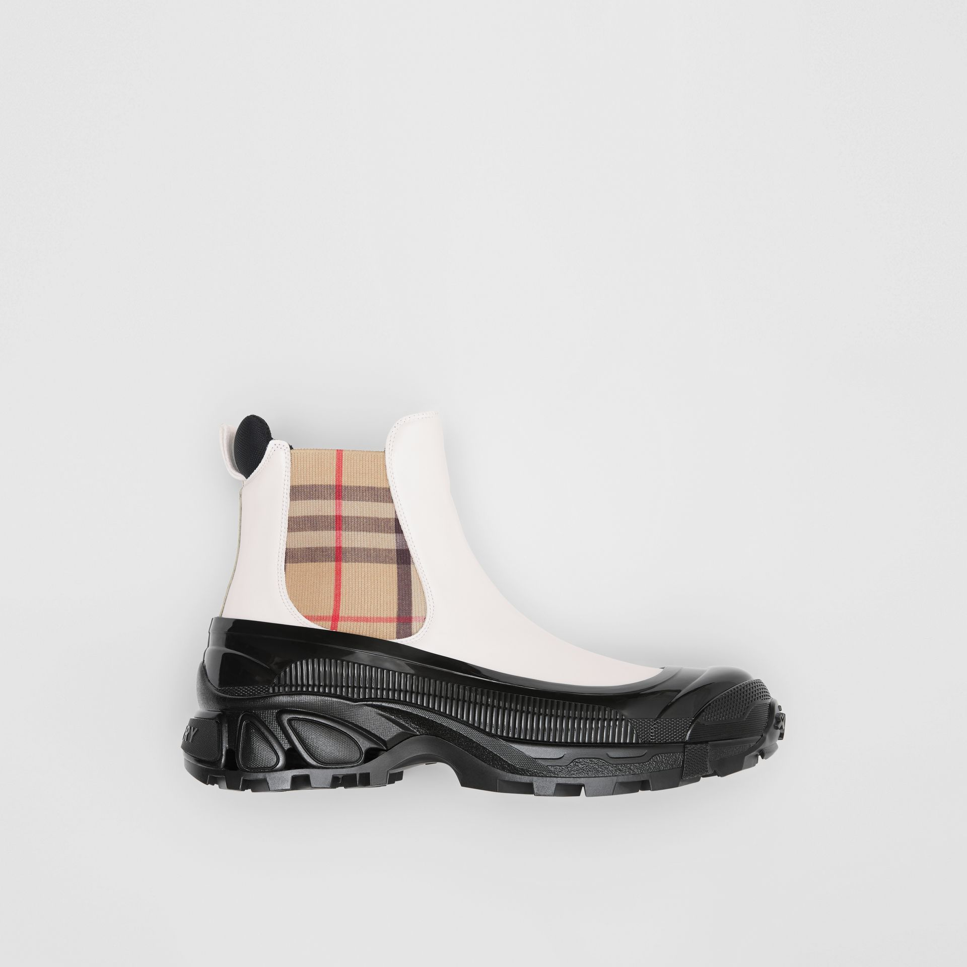 Vintage Check Detail Coated Canvas Chelsea Boots in White - Men | Burberry United Kingdom - gallery image 0