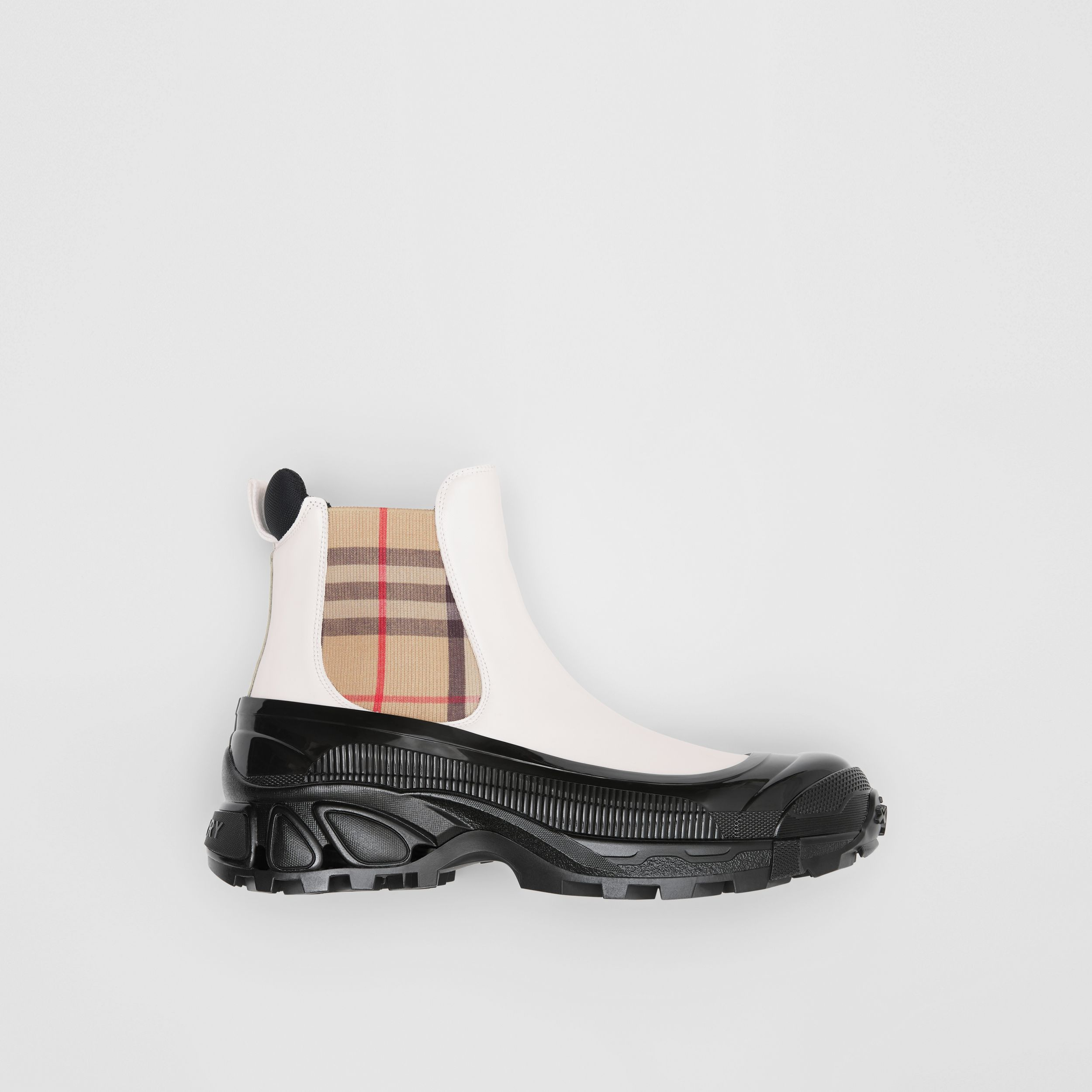 Vintage Check Detail Coated Canvas Chelsea Boots in White - Men | Burberry - 1