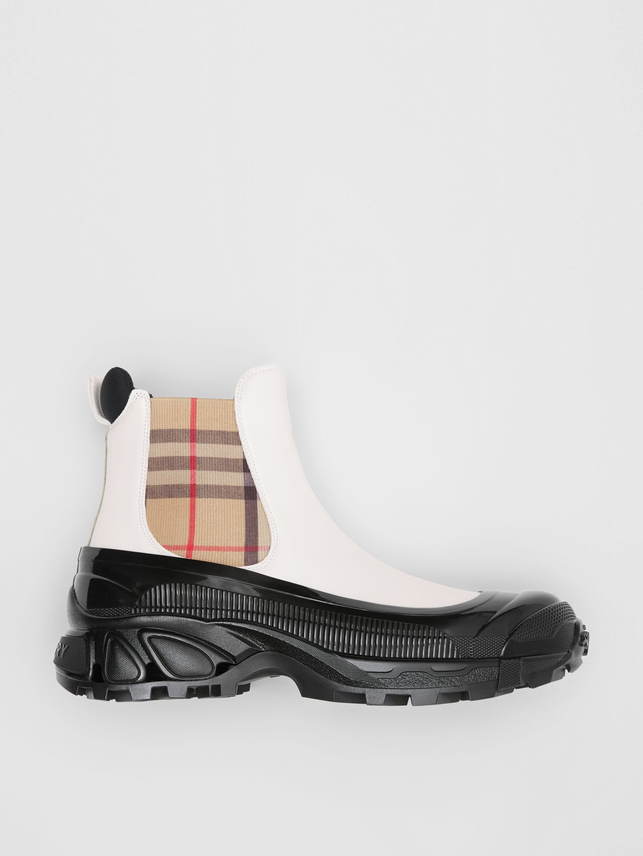Vintage Check Detail Coated Canvas Chelsea Boots in White