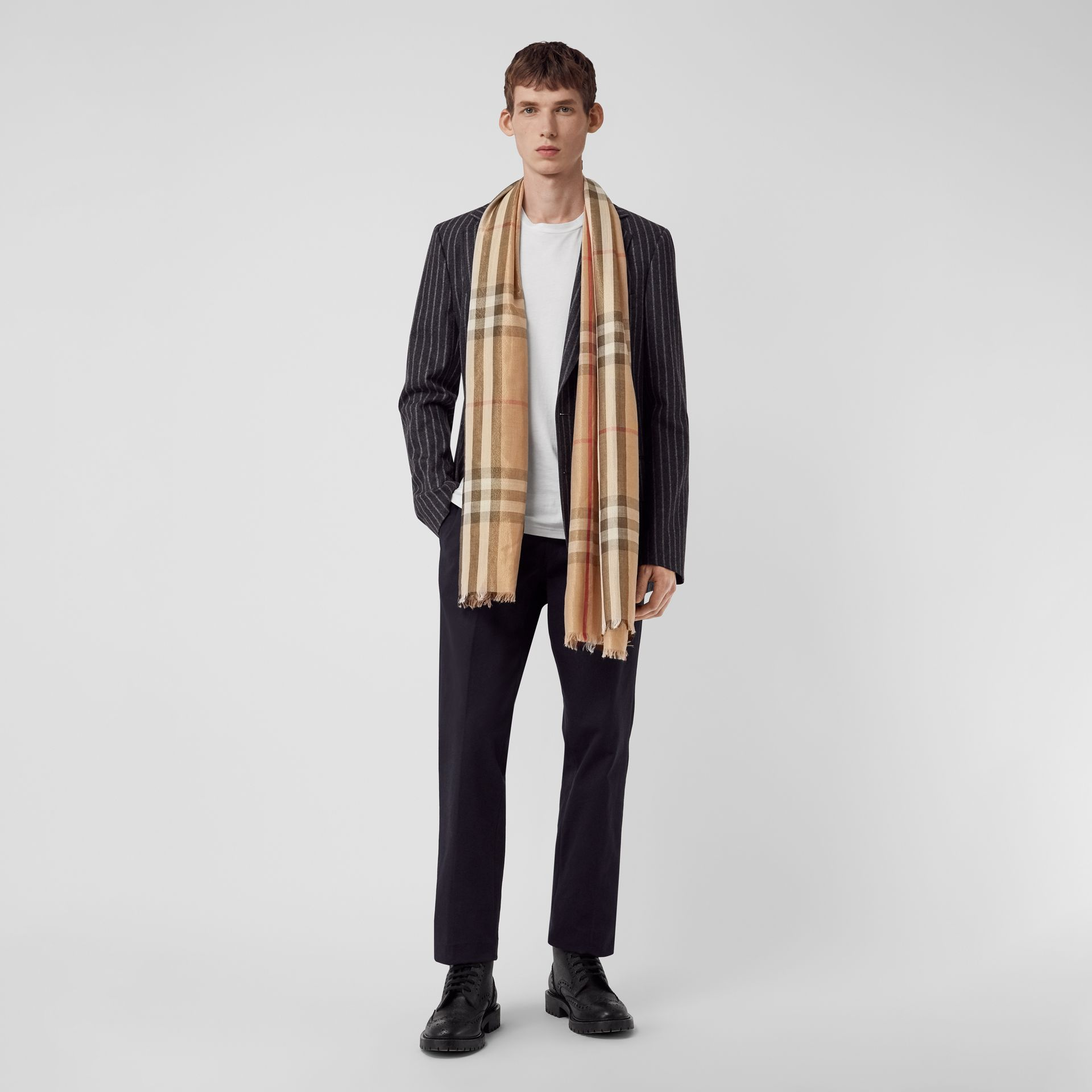 Metallic Check Silk and Wool Scarf in Camel/gold | Burberry - gallery image 3