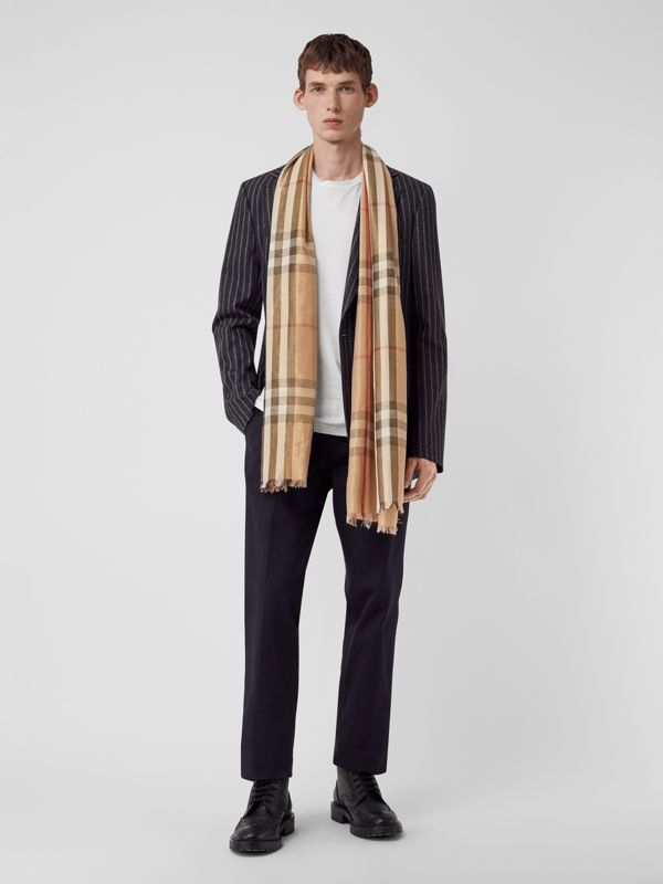 Metallic Check Silk and Wool Scarf in Camel/gold - Women | Burberry Canada - cell image 3