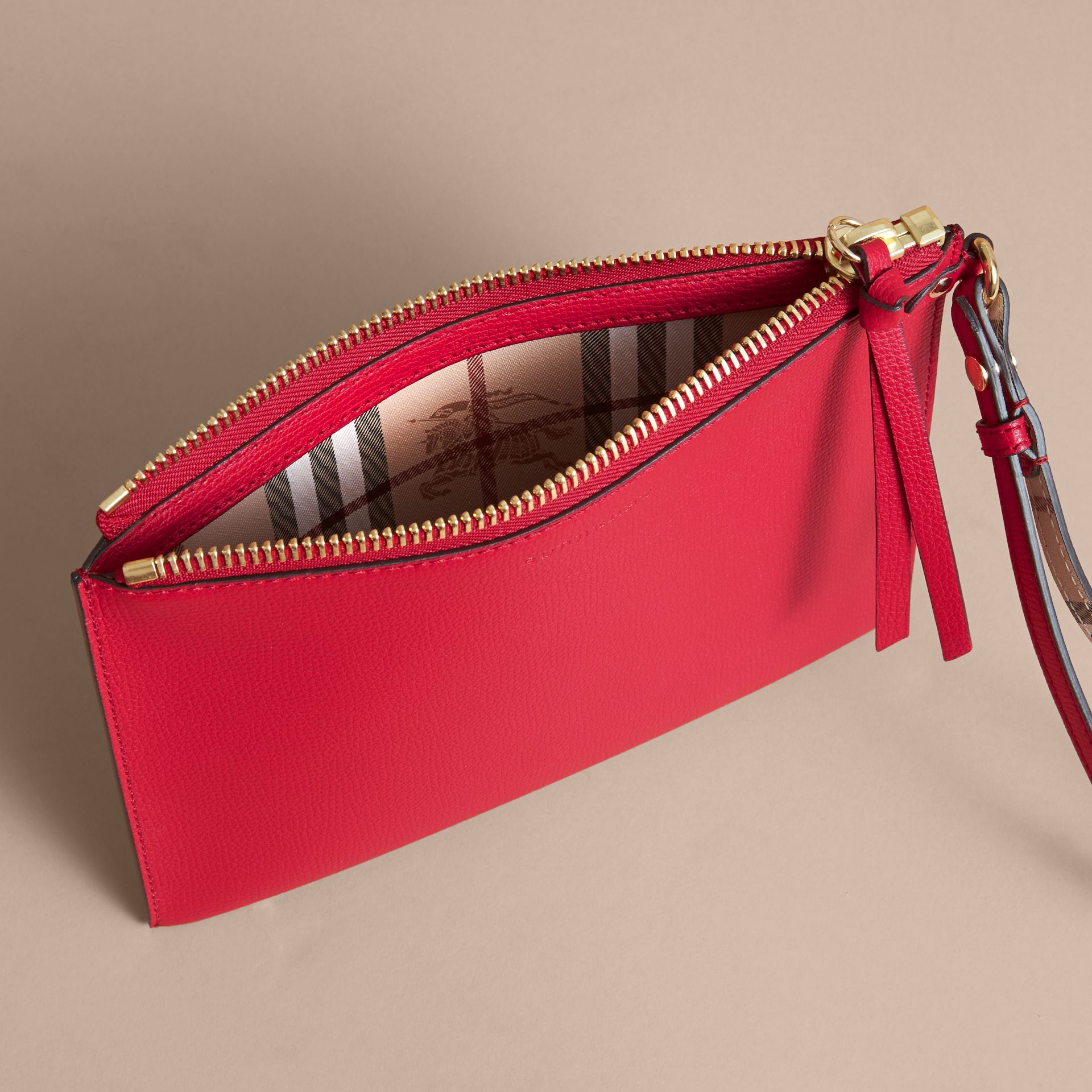 Haymarket Check and Leather Pouch in Poppy Red - Women | Burberry Canada - gallery image 5