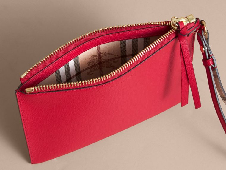 Haymarket Check and Leather Pouch in Poppy Red - Women | Burberry - cell image 4