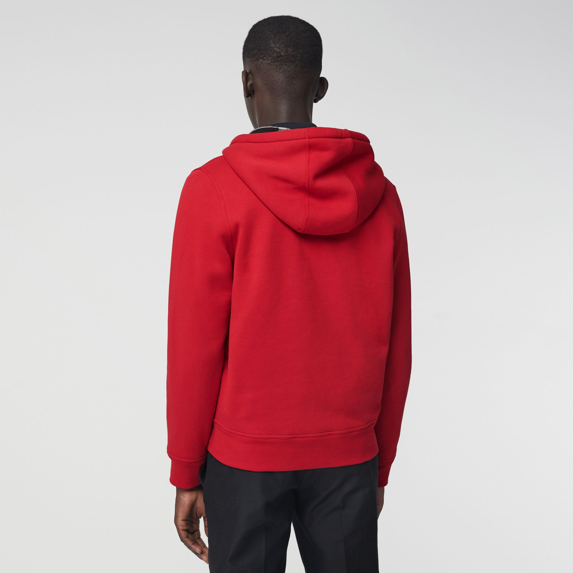 Check Detail Jersey Hooded Top in Military Red - Men | Burberry - gallery image 2
