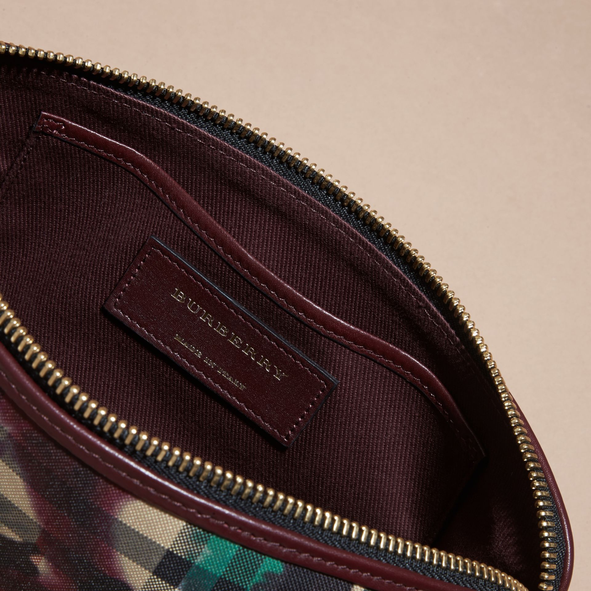 Deep claret Tie-dye Print Horseferry Check and Leather Clutch Bag Deep Claret - gallery image 5