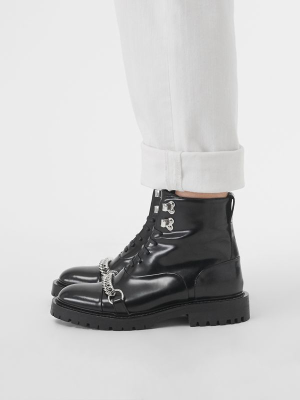 Link Detail Leather Lace-up Ankle Boots in Black - Women | Burberry United Kingdom - cell image 2