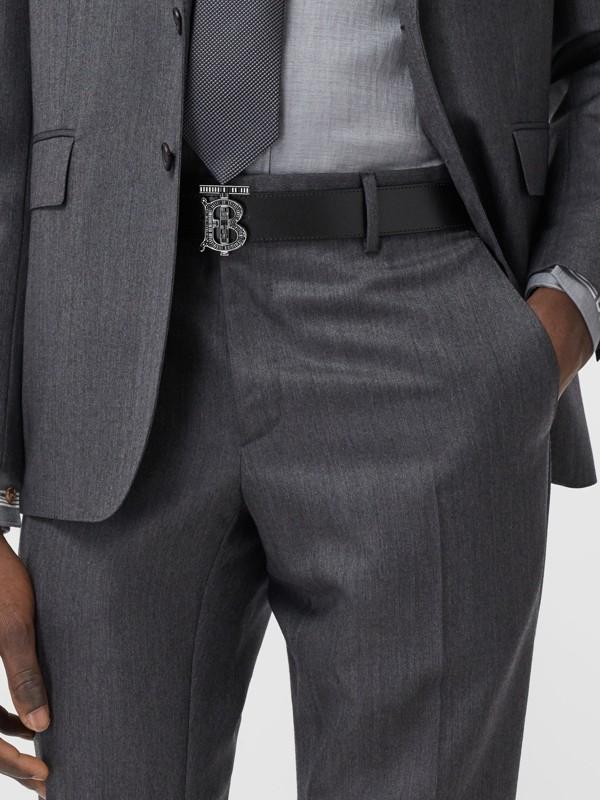 Cinturón en piel con monograma y cristales (Negro) - Hombre | Burberry - cell image 2