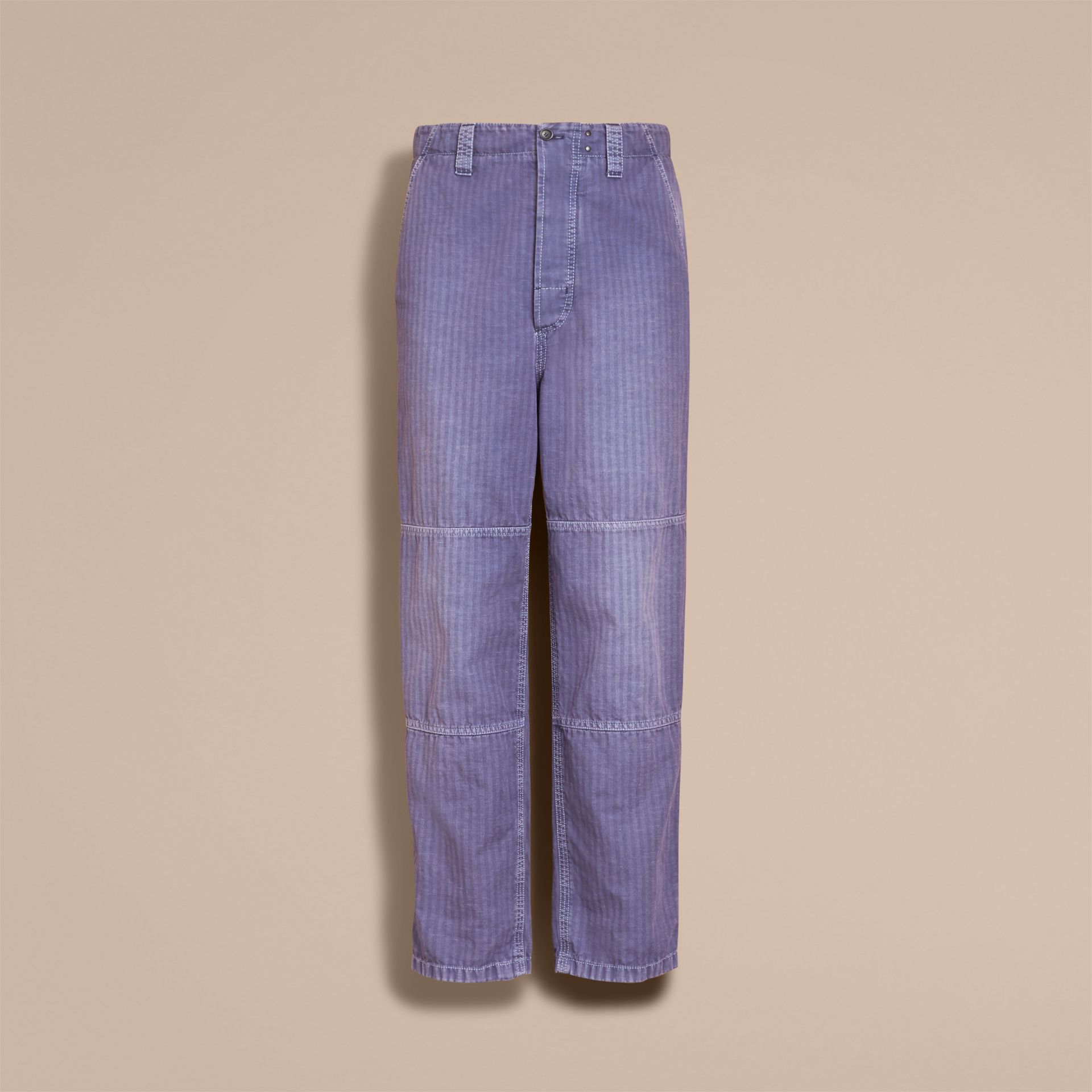Herringbone Cotton Linen Cropped Workwear Trousers in Indigo - Men | Burberry United States - gallery image 3