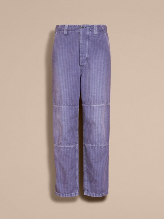 Herringbone Cotton Linen Cropped Workwear Trousers in Indigo - Men | Burberry - cell image 3