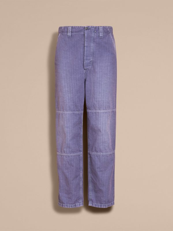 Herringbone Cotton Linen Cropped Workwear Trousers in Indigo - Men | Burberry United States - cell image 3