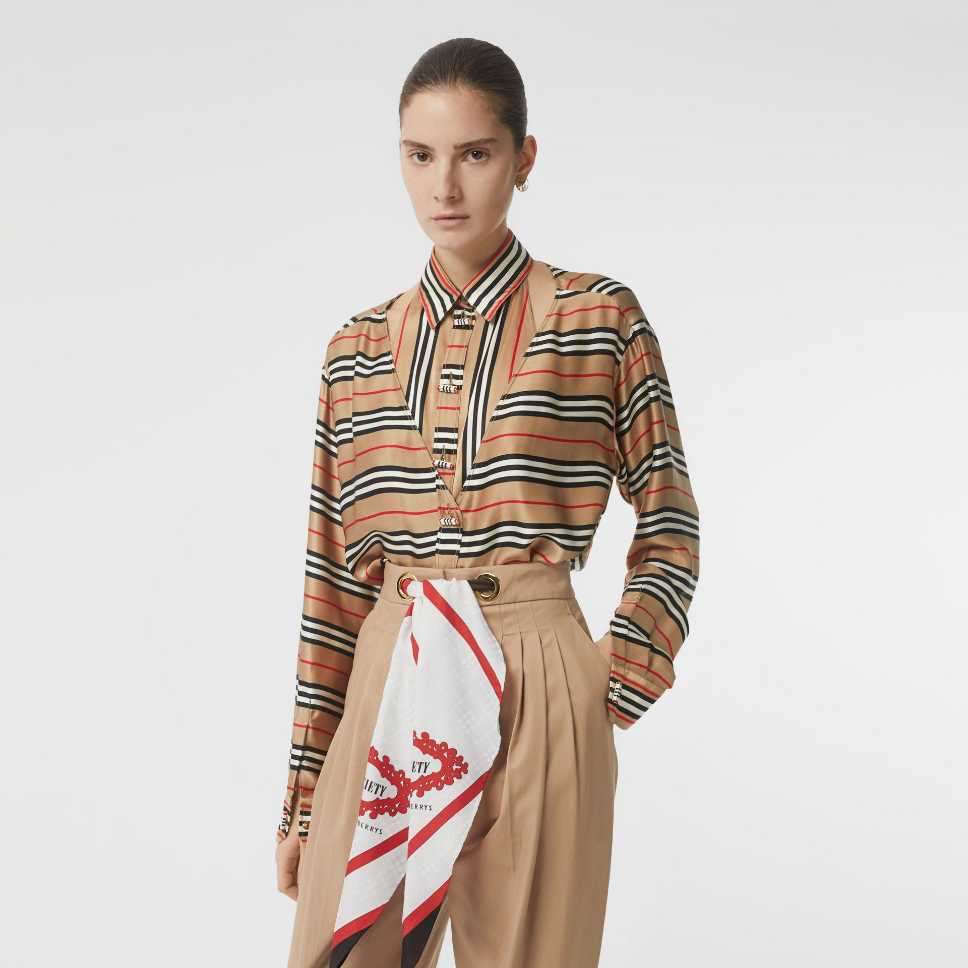 Cut-out Detail Icon Stripe Silk Oversized Shirt in Archive Beige - Women | Burberry - gallery image 3