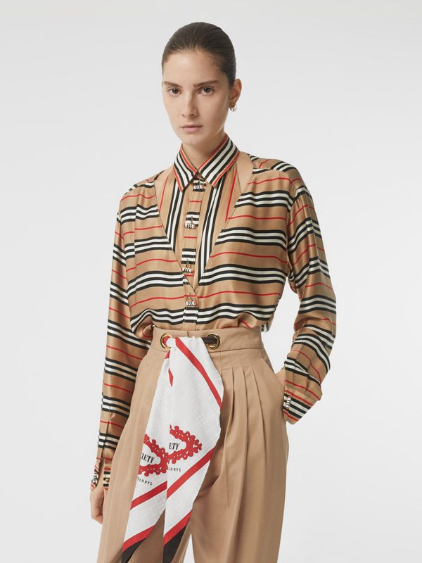 Cut-out Detail Icon Stripe Silk Oversized Shirt in Archive Beige - Women | Burberry - cell image 3