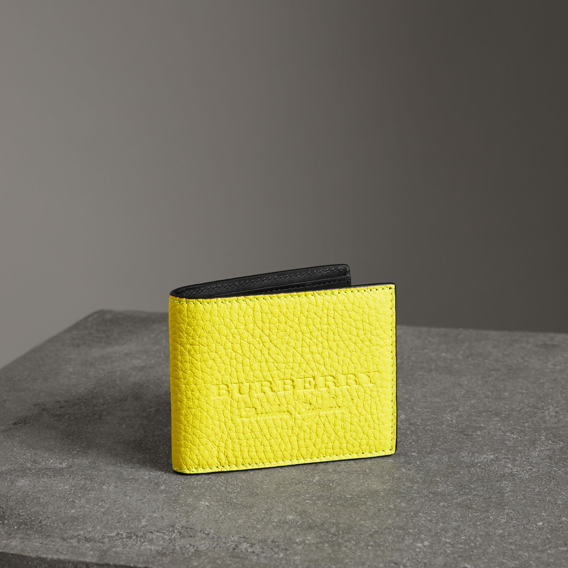 Embossed Leather Bifold Wallet in Neon Yellow - Men | Burberry United States - gallery image 0
