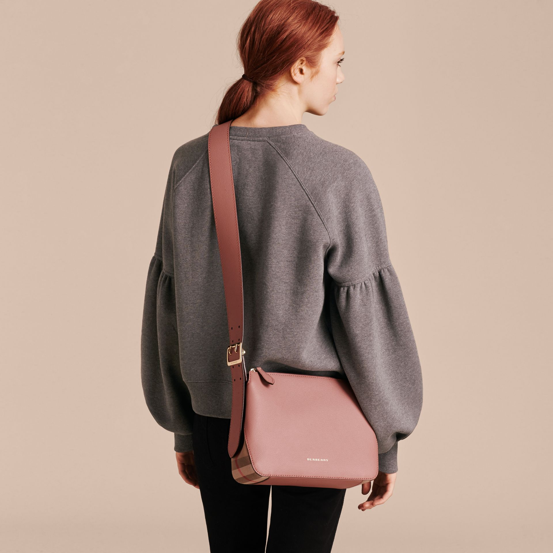 Buckle Detail Leather and House Check Crossbody Bag in Dusty Pink - gallery image 3