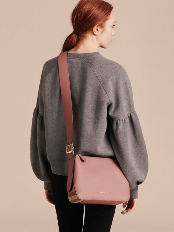 Buckle Detail Leather and House Check Crossbody Bag in Dusty Pink - cell image 2
