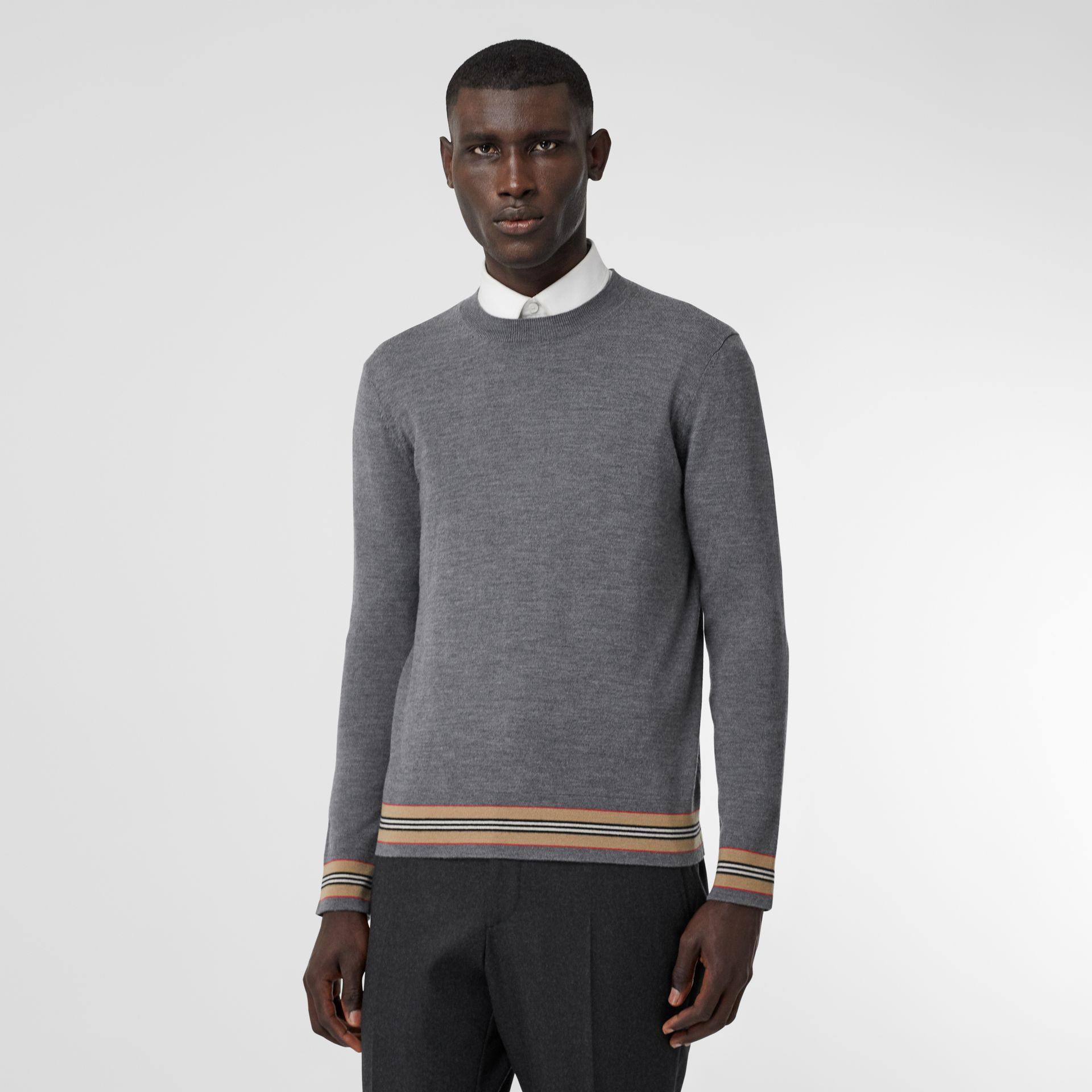 Icon Stripe Detail Merino Wool Sweater in Dark Grey Melange - Men | Burberry Australia - gallery image 0