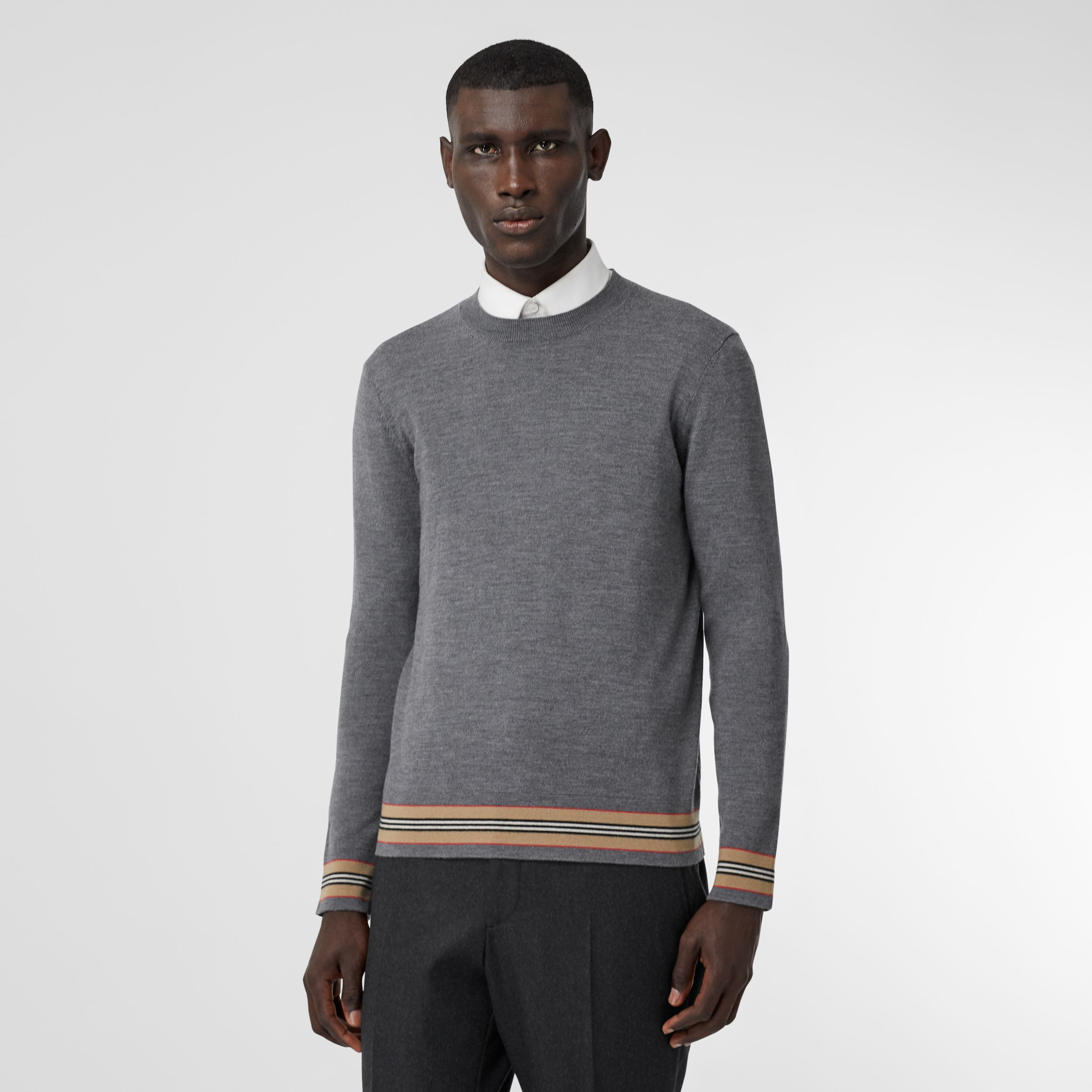 Icon Stripe Detail Merino Wool Sweater in Dark Grey Melange - Men | Burberry United States - 1