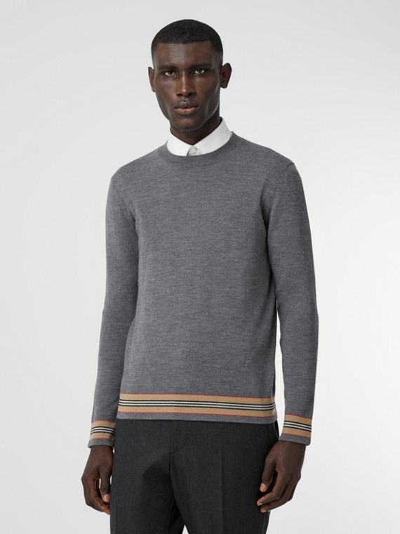 Icon Stripe Detail Merino Wool Sweater in Dark Grey Melange