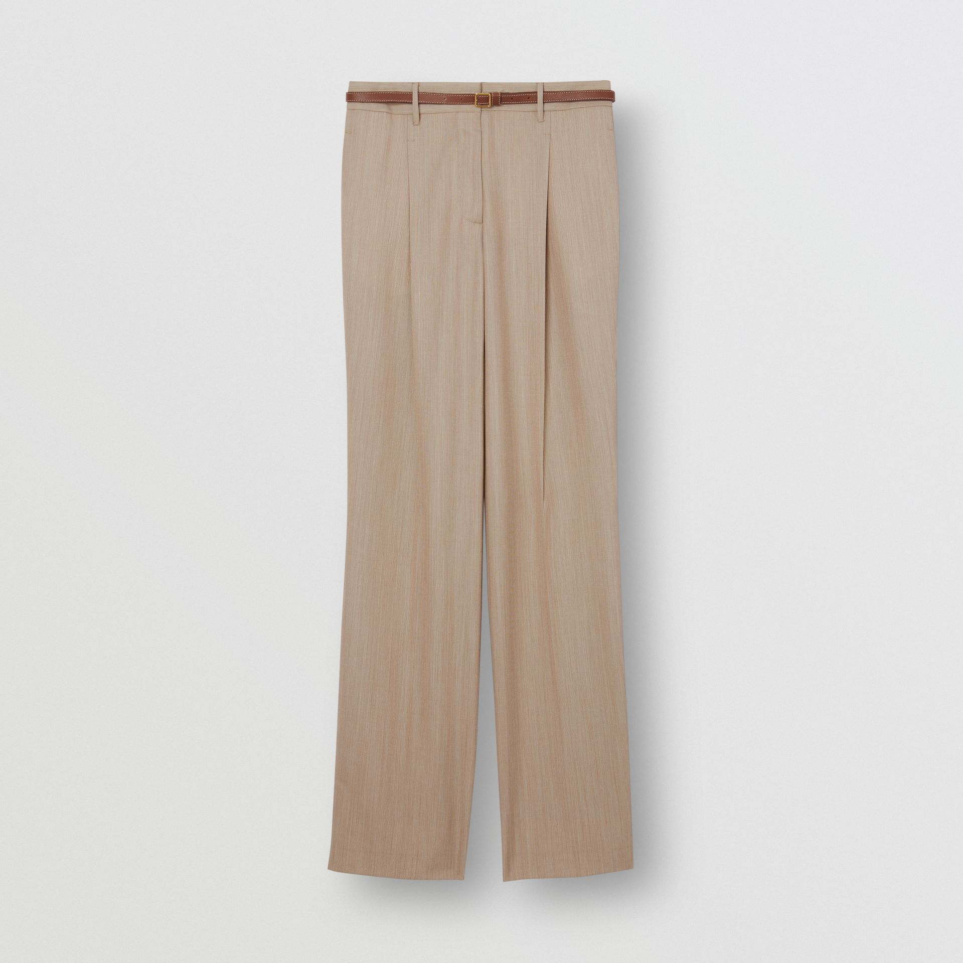 Leather Stripe Wool Tailored Trousers in Camel Melange - Women | Burberry - gallery image 3