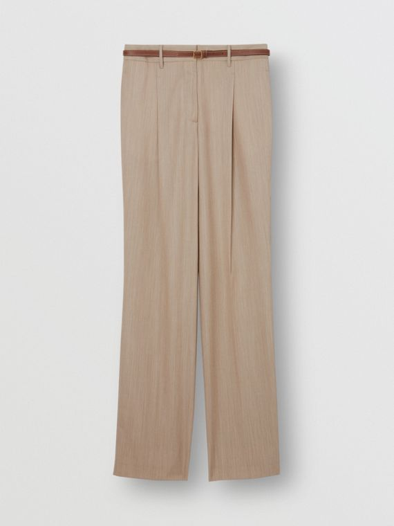 Leather Stripe Wool Tailored Trousers in Camel Melange