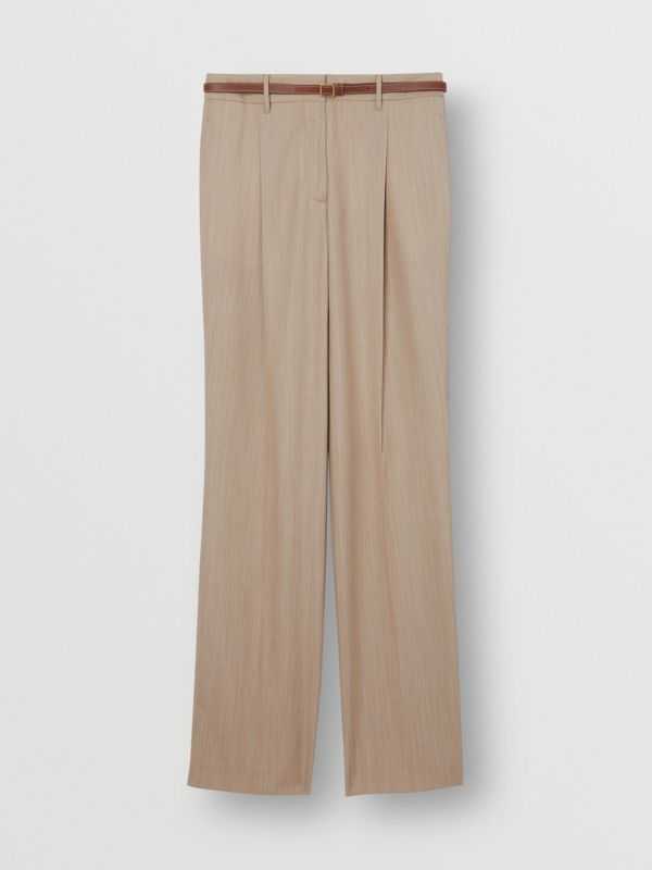 Leather Stripe Wool Tailored Trousers in Camel Melange - Women | Burberry - cell image 3