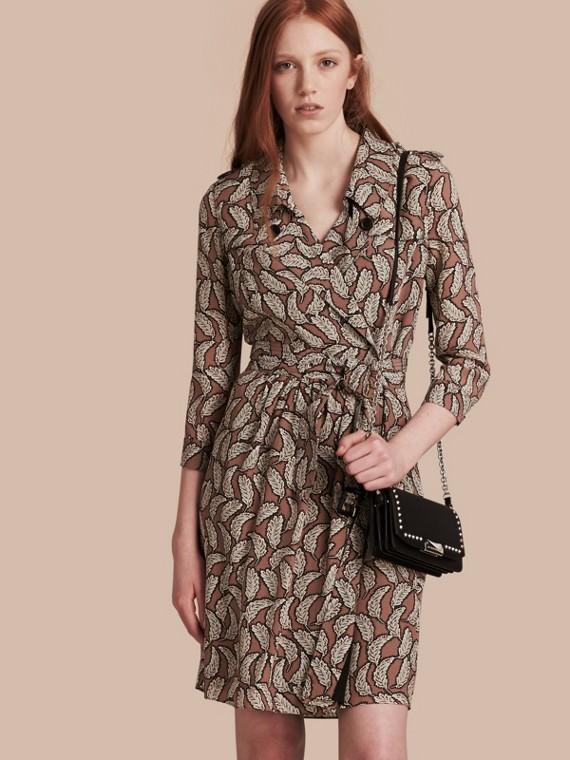 Leaf Print Silk Trench Dress