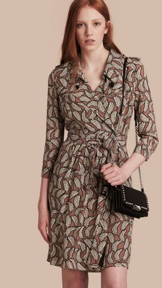 Leaf Print Silk Trench Dress
