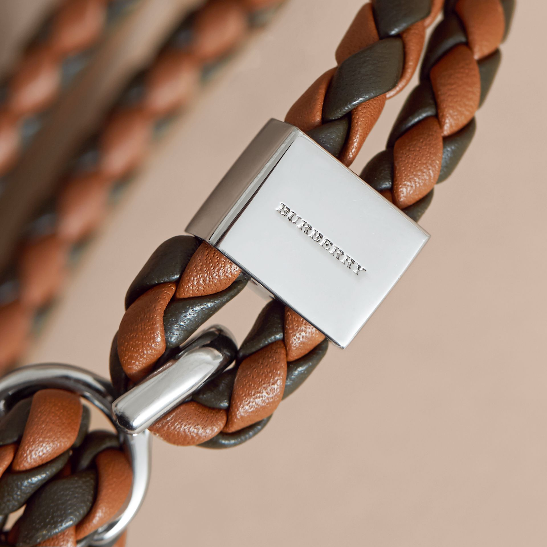 Two-tone Braided Leather Bracelet in Tan/black - Men | Burberry Australia - gallery image 2