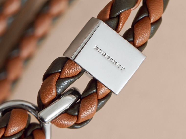 Two-tone Braided Leather Bracelet in Tan/black - Men | Burberry - cell image 1