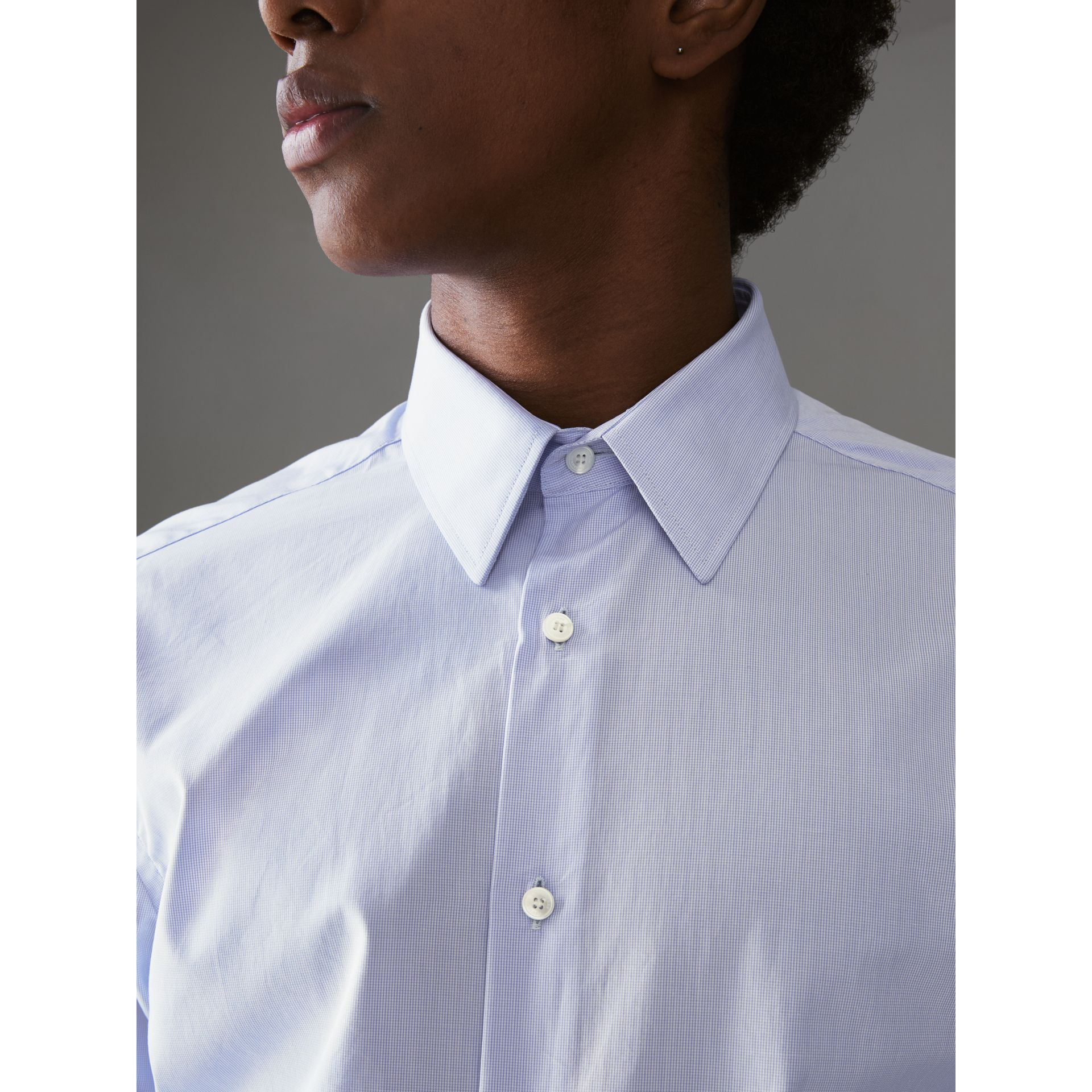 Slim Fit Cotton Poplin Shirt in City Blue - Men | Burberry - gallery image 1