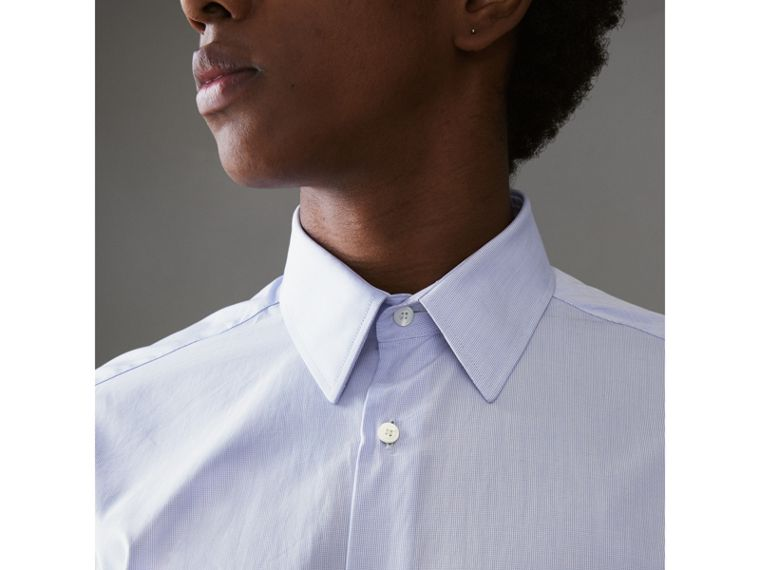 Slim Fit Cotton Poplin Shirt in City Blue - Men | Burberry United Kingdom - cell image 1