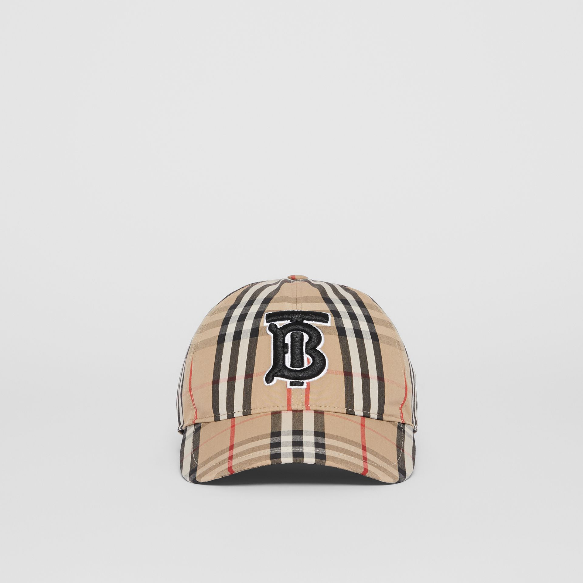 Monogram Motif Vintage Check Baseball Cap in Archive Beige | Burberry - gallery image 4