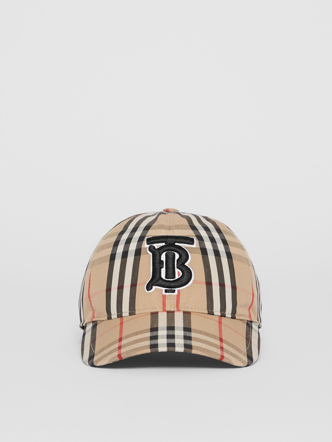 Monogram Motif Vintage Check Baseball Cap in Archive Beige