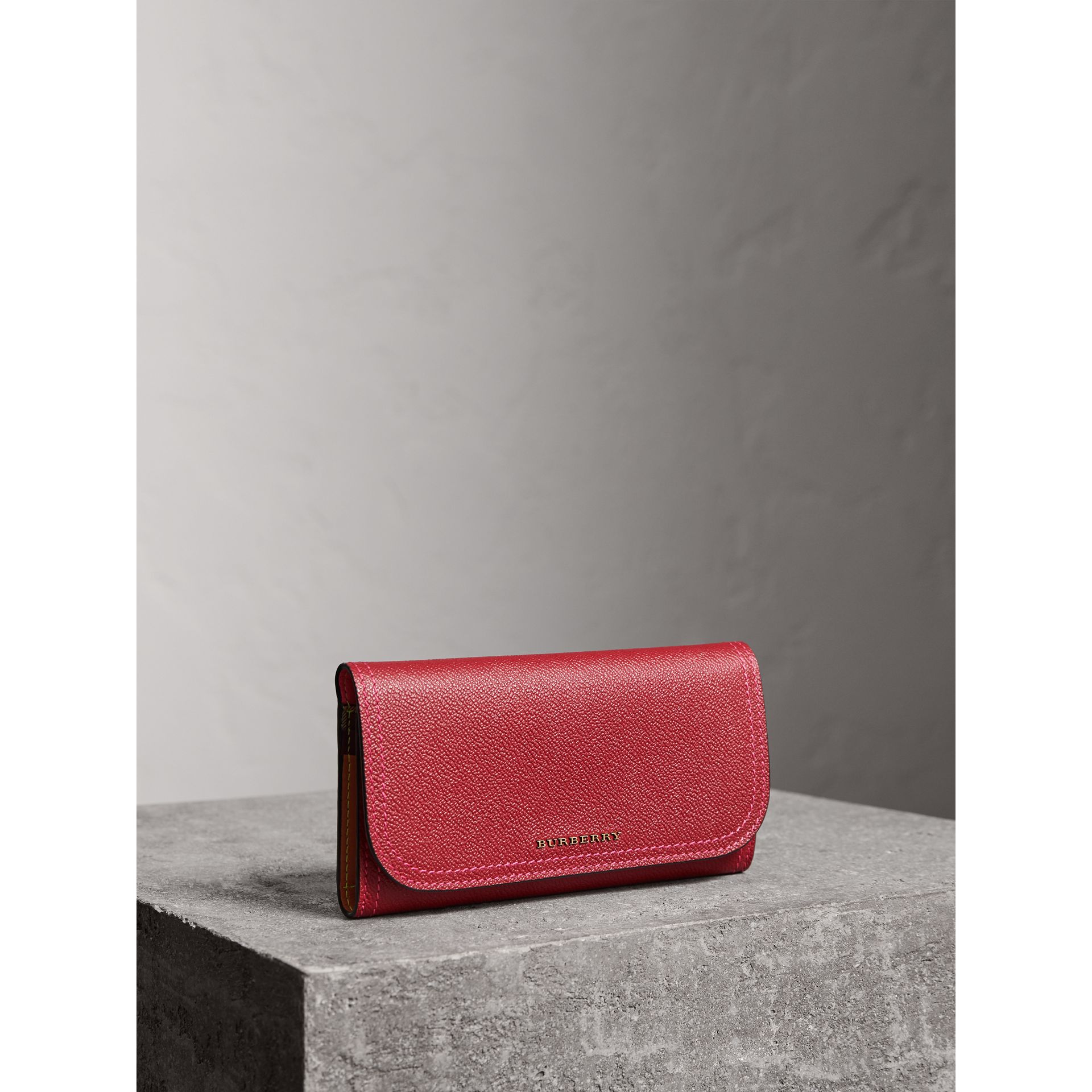 Colour Block Continental Wallet and Coin Case in Parade Red/multicolour - Women | Burberry - gallery image 0