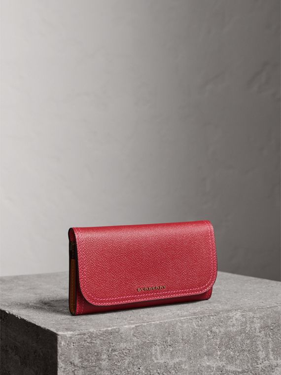 Colour Block Continental Wallet and Coin Case in Parade Red/multicolour