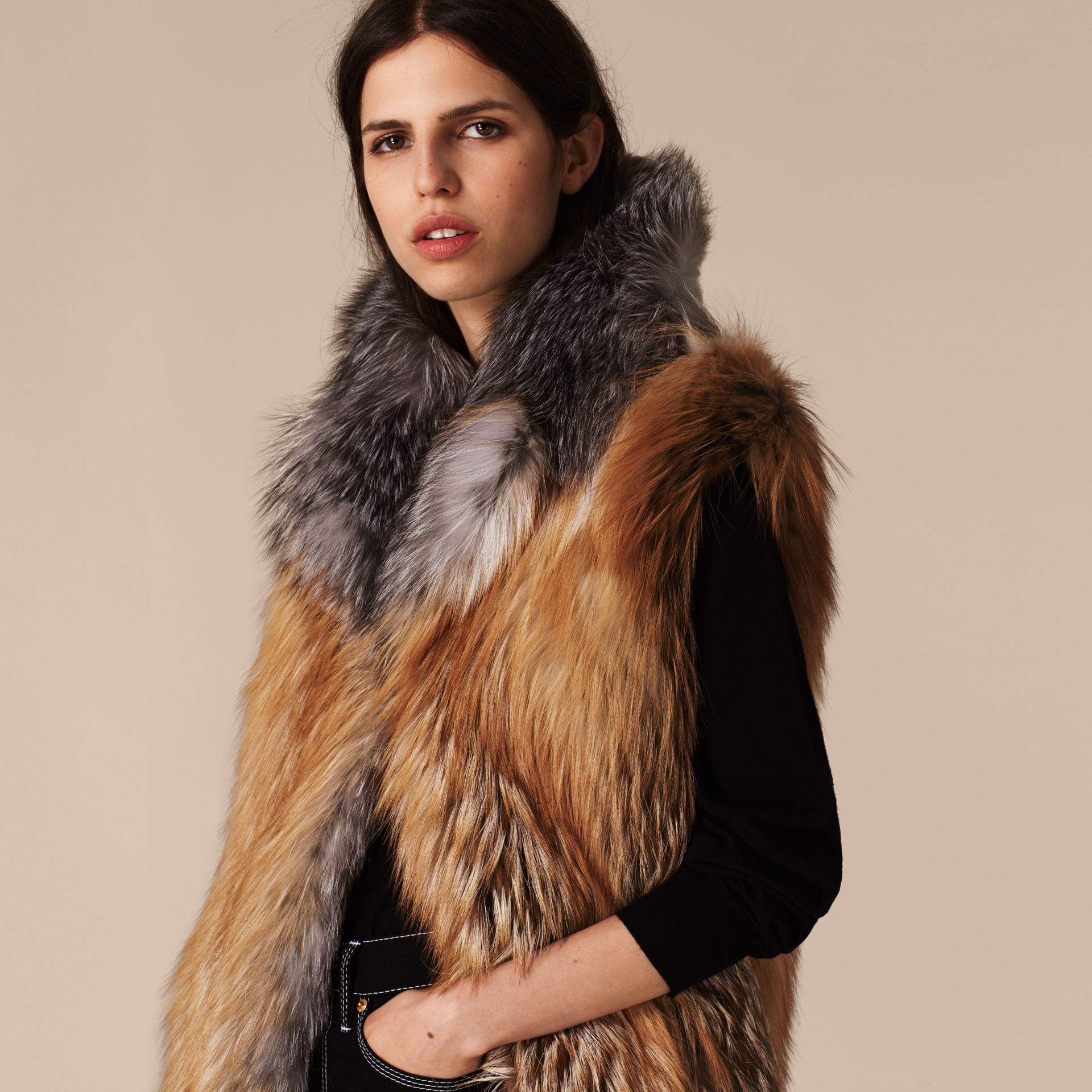 Bright toffee Fox Fur Gilet - gallery image 4