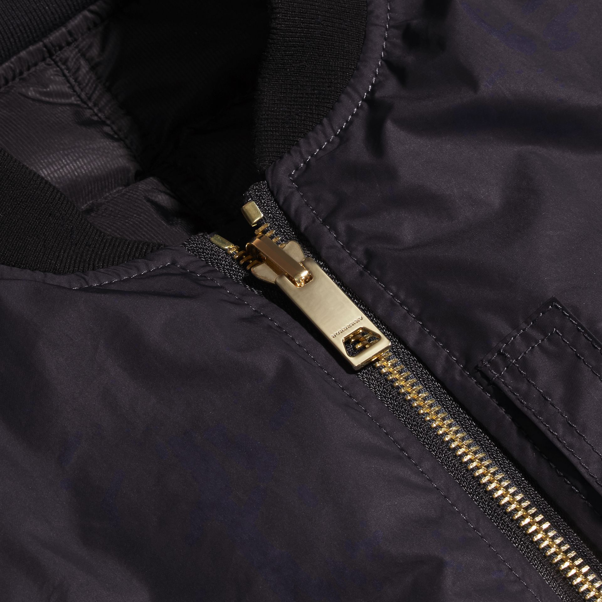 Navy Reversible Down-filled Bomber Jacket - gallery image 2