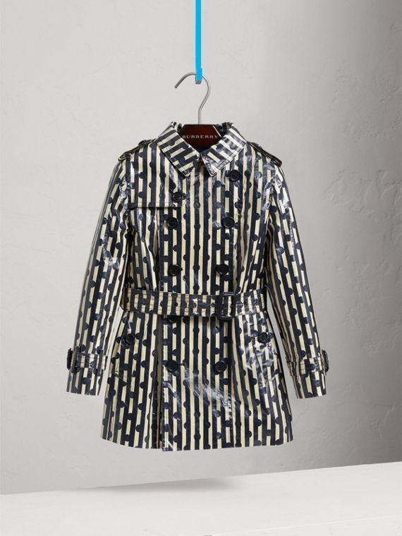 Laminated Spot and Stripe Print Trench Coat in Navy - Boy | Burberry - cell image 2
