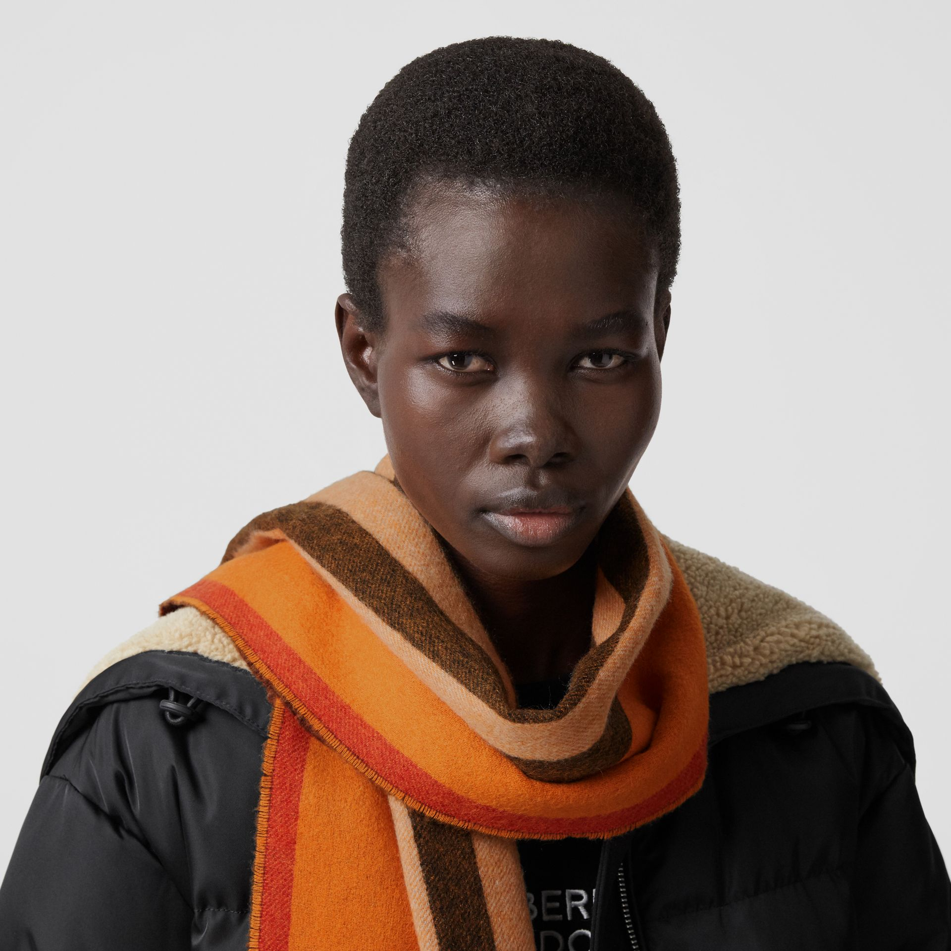 Reversible Icon Stripe Cashmere Scarf in Orange | Burberry - gallery image 2