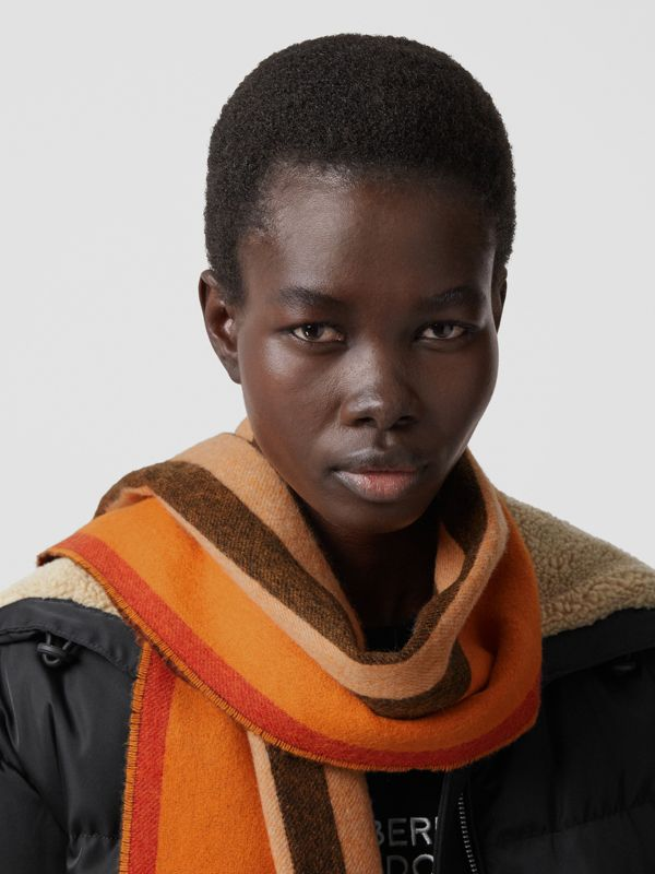 Reversible Icon Stripe Cashmere Scarf in Orange | Burberry - cell image 2