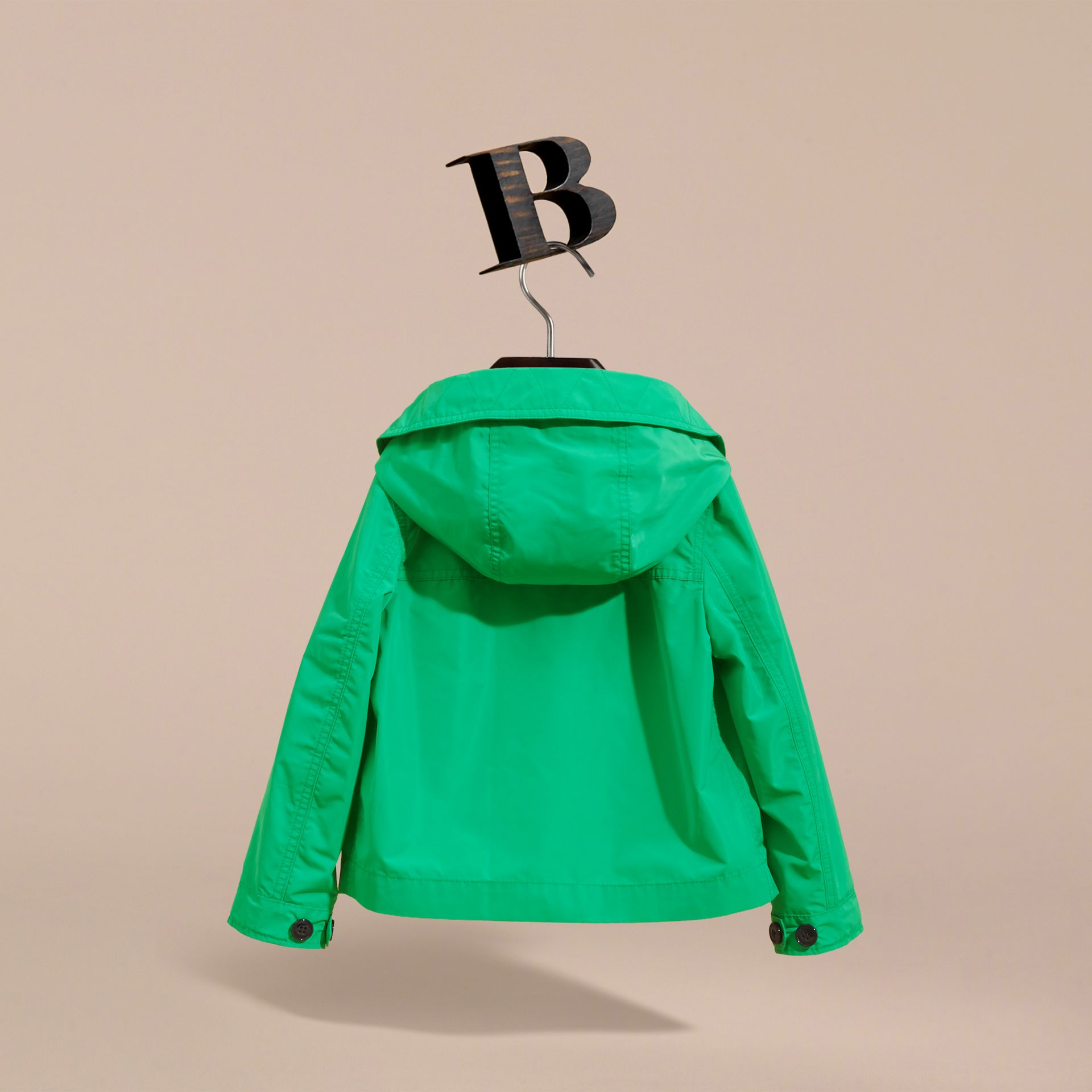 Hooded Field Jacket in Bright Green | Burberry - gallery image 4