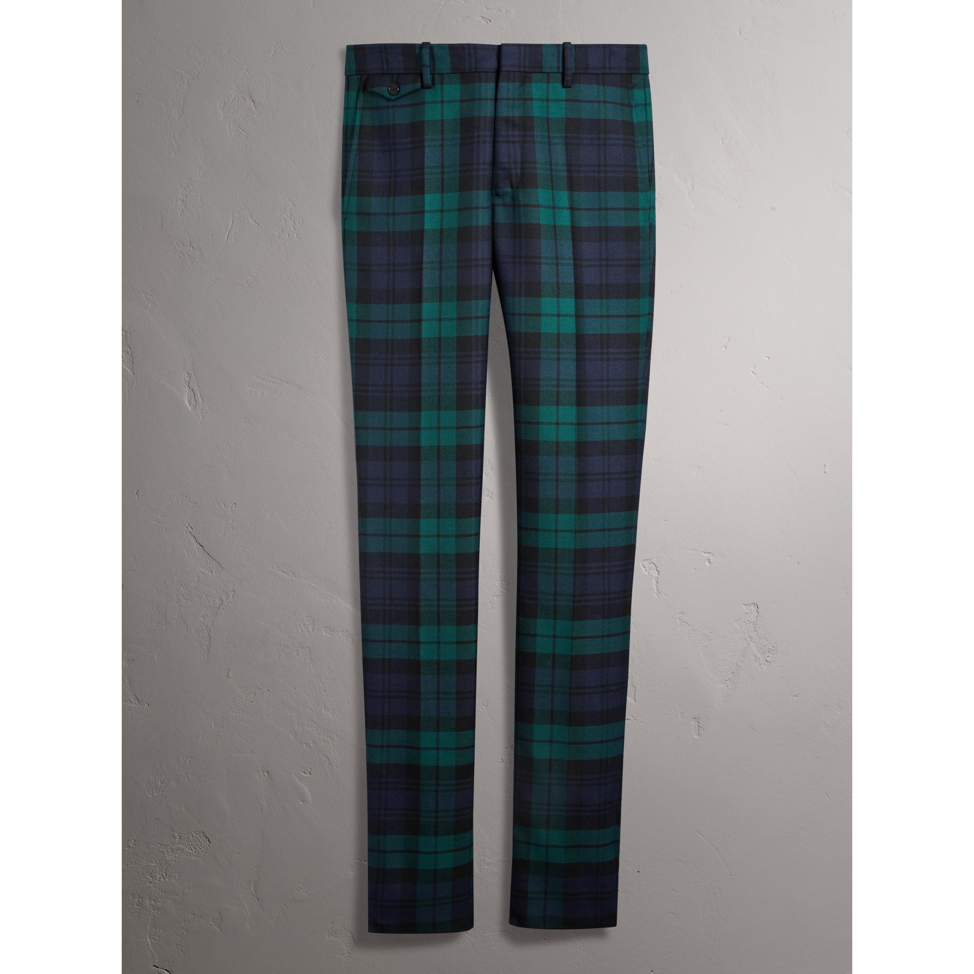 Tartan Wool Tailored Trousers in Navy - Men | Burberry Canada - gallery image 3