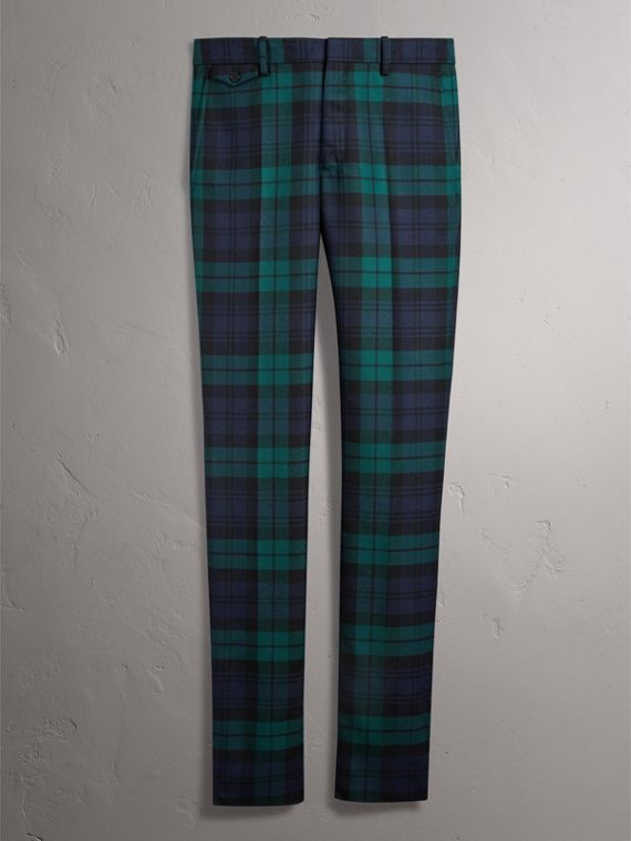 Tartan Wool Tailored Trousers in Navy - Men | Burberry - cell image 3