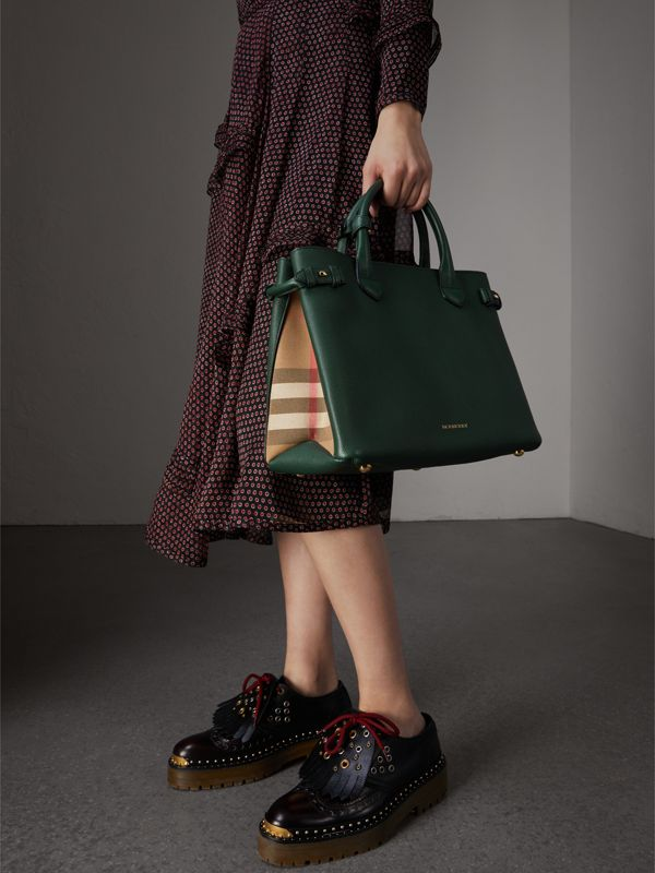The Medium Banner in Leather and House Check in Dark Bottle Green - Women | Burberry Australia - cell image 3